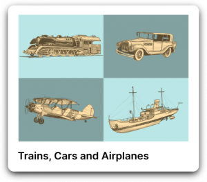 Trains, cars and airplanes poster